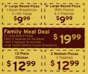Jonnas specials-pizza, chicken and more!